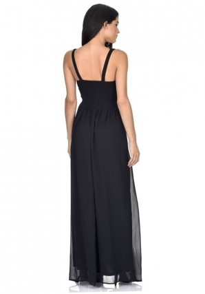 Women's Black V Front Lace Top Maxi Dress