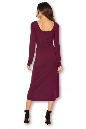 Women's Plum Knot Front Bodycon Midi Dress
