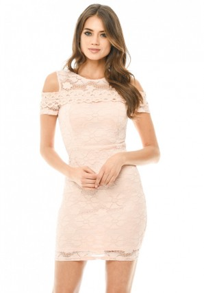 Women's Pink Lace Cut Out Shoulder Fitted Dress