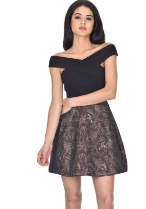 Women's Black and Wine 2in1 Skater Dress With Floral Print
