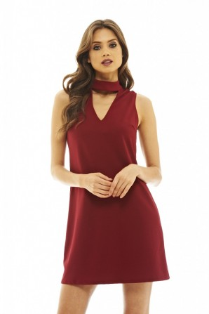 Women's Shift Dress  with Cut Out   Wine Detail