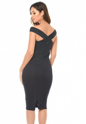 Women's Navy Midi Dress With Bandage Top