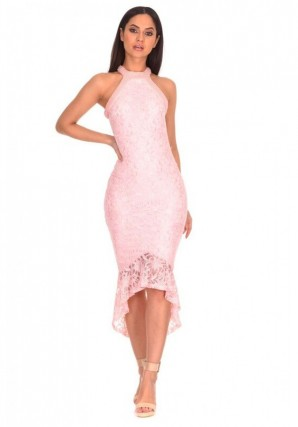 Women's Blush Lace Choker Neck Dress