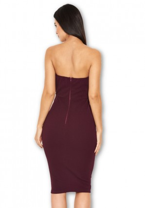 Women's Plum Notch Front Bodycon Dress