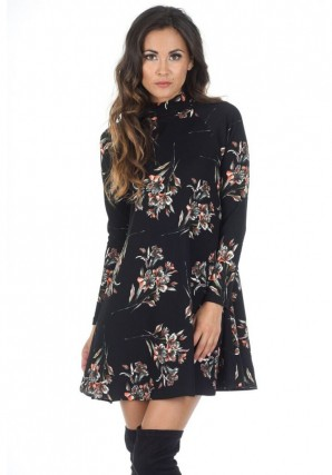 Women's Black High Neck Long Sleeve Floral Dress