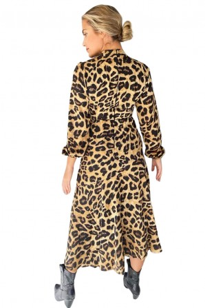 Women's Animal Printed Beige Midi Dress