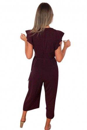 Women's Purple Plain Wrap Over Jumpsuit