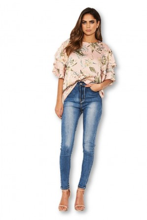 Women's Pink Floral Printed Layered Frill Sleeve Top