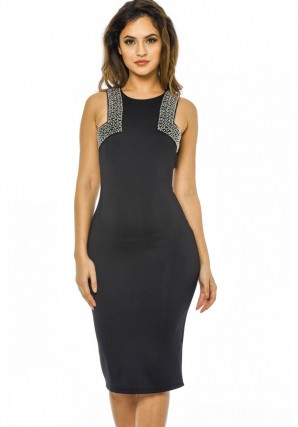 Women's Black Embellished Cut In Bodycon Dress