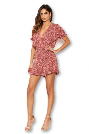 Women's Red Floral Printed Romper