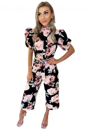 Women's Black Rose Print Puff Sleeve Tie Waist Jumpsuit