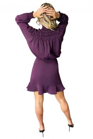 Women's Purple Shirring Neck Skater Dress