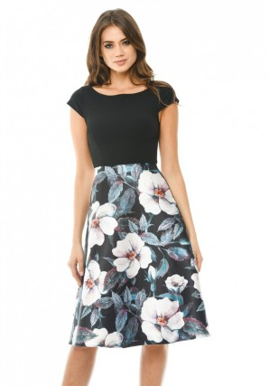 Women's 2 in1  Skater Skirt Midi  Black Dress