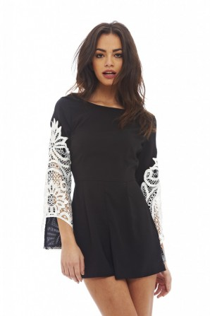 Women's Contrast Crochet Sleeved  Black Playsuit