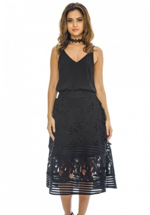 Women's 2 in 1 Tiered Crochet Midi  Black Dress