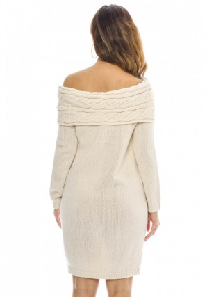 Women's Off The Shoulder Knitted Sweater  Cream Dress
