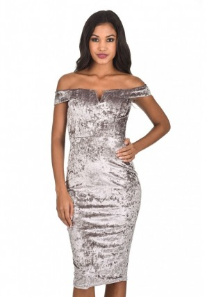 Women's Grey Velvet Off The Shoulder Bardot Dress
