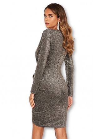 Women's Black Sparkle Ruched Bodycon Wrap Dress