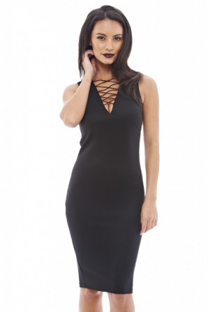 Women's Lace Up Front Sleeveless Black Dress