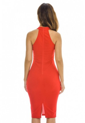 Women's Choker Harness Bodycon Midi  Red Dress