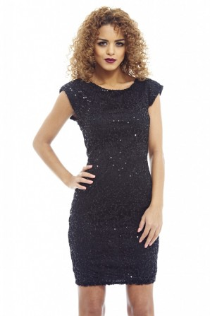 Women's Sequin Covered Shoulder Pad Black Bodycon