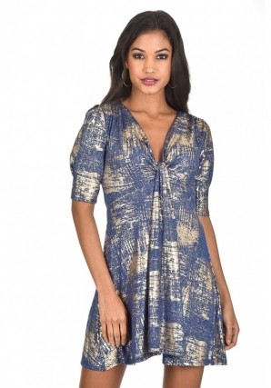 Women's Blue Knot Front Metallic Dress