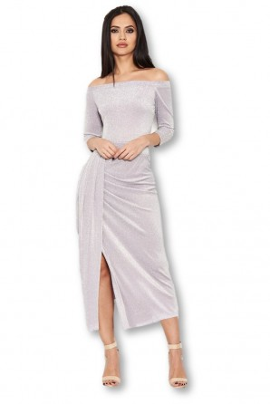 Women's Grey Off Shoulder Wrap Front Sparkle Dress