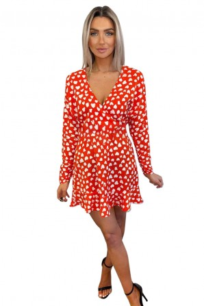 Women's Red Heart Print Long Sleeve Wrap Skater Dress