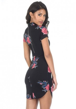 Women's Black High Neck Short Sleeved Floral Mini Dress