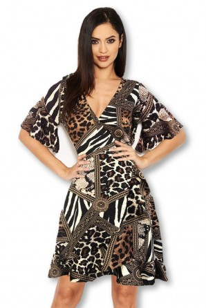Women's Multi Printed Frill Detail Dress