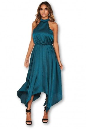 Women's Teal Satin Sleeveless Maxi Dress