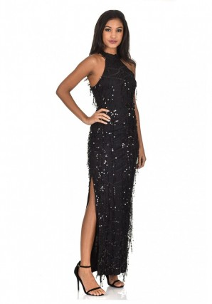 Women's Black Cut In Neck Sequin Maxi Dress