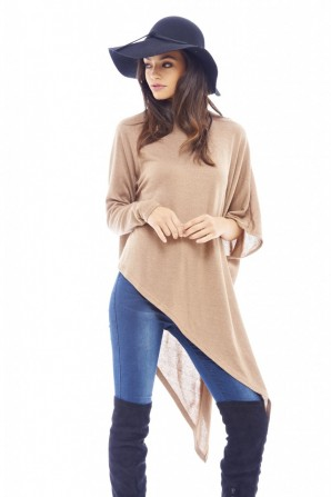Women's Asymmetric Knitted Camel Sweater
