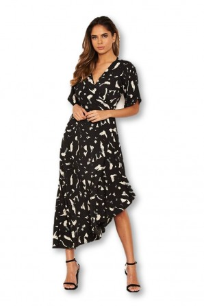 Women's Black Printed Wrap Side Frill Dress