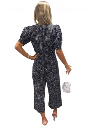Women's Black Spotty Jumpsuit