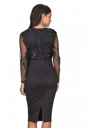 Women's Black Sequined Crossover Bodycon Dress