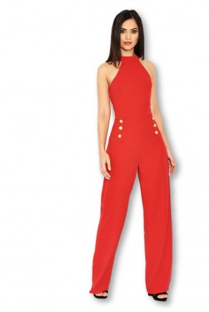 Women's Red Halterneck Jumpsuit With Military Buttons