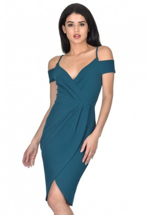 Women's Teal Wrap Around Dress