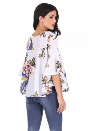 Women's Cream Floral Flared Sleeves Top