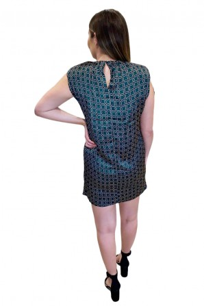 Women's Printed Padded Shoulder Shift Dress