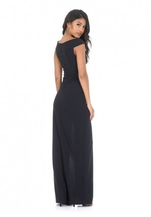 Women's Black Split Maxi Dress