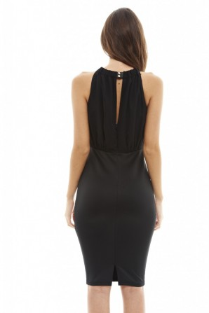 Women's Chiffon Top 2 in 1 Black Dress