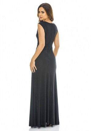 Women's Black Lace Insert Maxi  Black Dress
