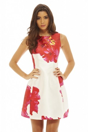 Women's Bold Floral Skater Cream Dress