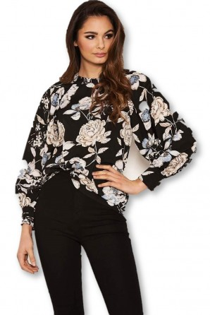 Women's Black Floral Wide Sleeve Blouse