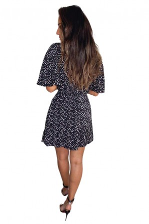 Women's Black and Pink Polka Dot Pleated Wrap Dress