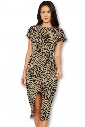 Women's Khaki Animal Print Wrap Style Dress