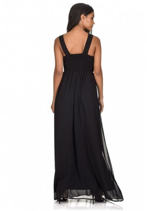 Women's Black Jewelled Detail Maxi Dress
