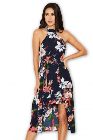 Women's Navy Floral Halter Neck Dress