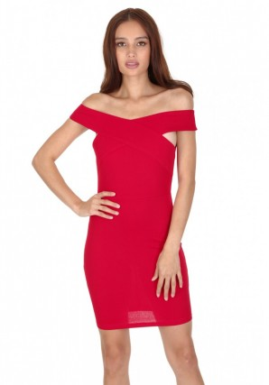 Women's Red Cross Off The Shoulder Mini Dress